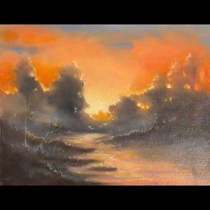 Original oil painting western sunset Landscape